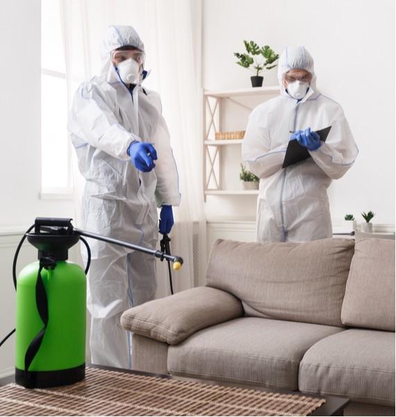 cleaning crew in hazmat suits decontaminating for COVID-19