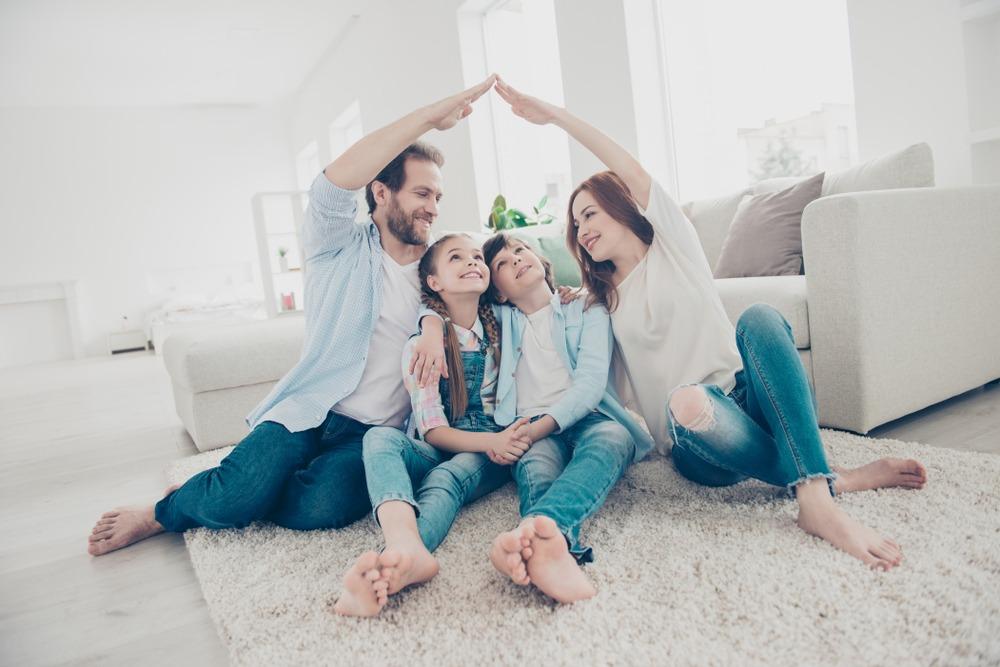 family enjoying new home